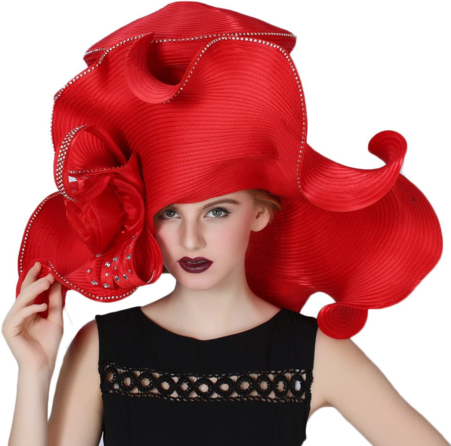 June's Young Women's Hats Church Hat Dressy Formal Hats Large Brim Red color