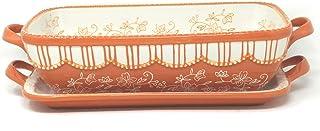 "Temp-tations Casserole Baker Set 2.5 Qt 11""x7"" w/Lid-It (Tray) (Floral Lace Spice) EW-H"
