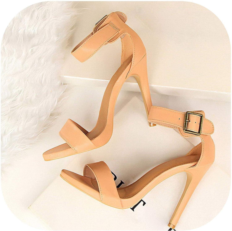 Women Classic 11cm High Heels Fetish Soft Leather Sandals Female Gladiator shoes Lady