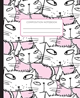 Composition Notebook: Handrawn Cats on Pink Background. School Exercise Journal with Wide Ruled Paper for Middle, Elementa...