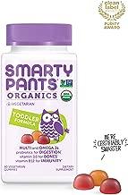 Daily Organic Gummy Toddler Multivitamin: Probiotic, Vitamin C, D3 & Zinc for Immunity, Biotin, Omega 3 Fish Oil, Selenium, Vitamin B6, Methyl B12 by SmartyPants 60 Count (30 Day Supply)
