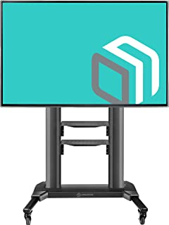 "ONKRON Universal Mobile TV Stand with Shelves TV Cart on Wheels for 40"" – 75 Inch Flat Panel Curved LCD LED OLED Screens up to 100 lbs TS27-71 (Black)"