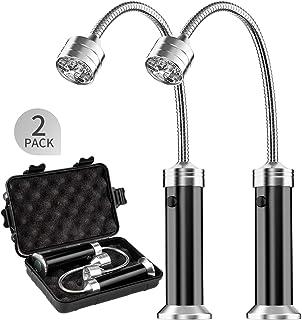 MojiDecor Juego de luces de barbacoa magnéticas de parrilla al aire libre con accesorios de barbacoa, pilas y ángulo de rotación de 360 grados Paquete de 2 Negro