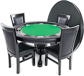 BBO Poker Nighthawk Poker Table for 8 Players with Speed Cloth Playing Surface, 55-Inch Round, Includes Matching Dining Top with 4 Dining or Lounge Chairs