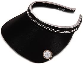 Women's Clip On Visor Glove It Golf & Tennis Slide On Head Visors for Women Ball Marker Included UV 50 Protection Ladies Sun Visor Hat Large Wide Brim Black Bling