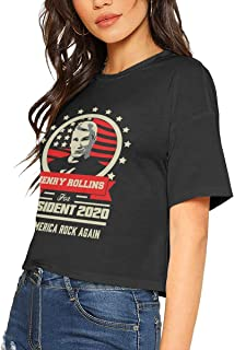 Henry Rollins for President 2020 Make America Rock Again Sexy Exposed Navel Female T-Shirt Bare Midriff Crop Top T Shirts