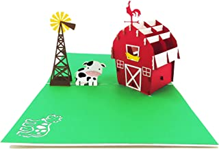 Farmhouse Pop Up Card,Cow Barn Pop Up Greeting Card, Happy Birthday Card for kids with Animals, Windmill, Farm, Cattle, Retirement, Thank You   Pop Card Express