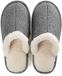 Men Slippers Fleece Plush Waterproof Home Warm Shoes Cotton Soft Male Indoor Bedroom Slippers Non-Slip Autumn Mens Slipper