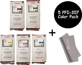 Canon PFI-207 300ml Ink Tank 5 Pack - for Canon iPF680/685/780/785, 1 PFI-207MBK 1 PFI-207BK 1 PFI207C 1 PFI207M 1 PFI207Y + InkSAVER Microfiber LCD Screen Cleaning Cloth