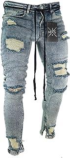 Legou Men's Ripped Skinny Destroyed Frayed Biker Jeans