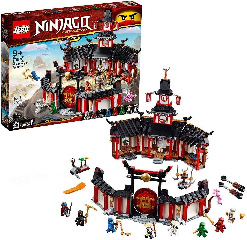LEGO 70670 NINJAGO Monastery of Spinjitzu Wu, Jay, Nya, Zane, Cole, Lloyd, Kai and Wyplash Minifigures Ninja Training Playground Set with Accessories
