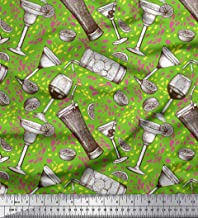Soimoi Green Cotton Duck Fabric Lemon Slice & Soft Drink Beverages Decor Fabric Printed BTY 42 Inch Wide