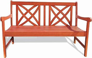 Vifah Siesta Red Brown 4Ft Magnolia Eucalyptus Wooden Garden Bench for 2 Seater in Entry Way, Porch, Balcony, Deck, Garden, P