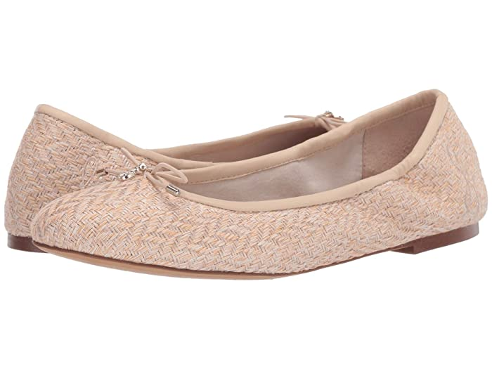 Sam Edelman  Felicia (Sand/Summer Sand Cala Chevron Weave/Butter Nappa Leather) Womens Flat Shoes