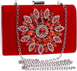 Runhuayou Ladies Europe & America Crystal Rhinestones Banquet Clutch Bag Eve Bag Bride Wedding Chain Bag Dinner Bag Red/Blue/Black Great for Casual or Many Other Occasions Such (Color : Red)