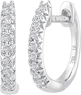 12db75490 Naava Women's 0.18 ct Diamond Filled 18 ct White Gold Hoop Earrings