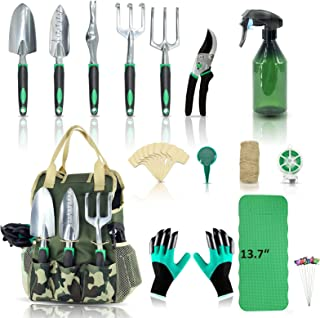 YARTTING Garden Tool Set 29 Piece, Heavy Duty Gardening Tools with Soft Rubberized Non-Slip Handle Tools, Handbag & Diggin...