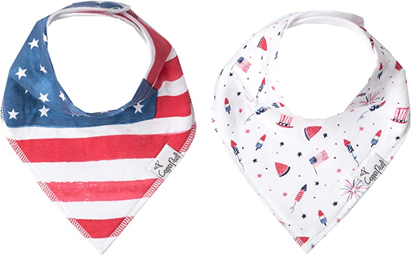 Baby Bandana Drool Bibs For Drooling And Teething 2 Pack Fashion Bibs Gift Set Patriot By Copper Pearl