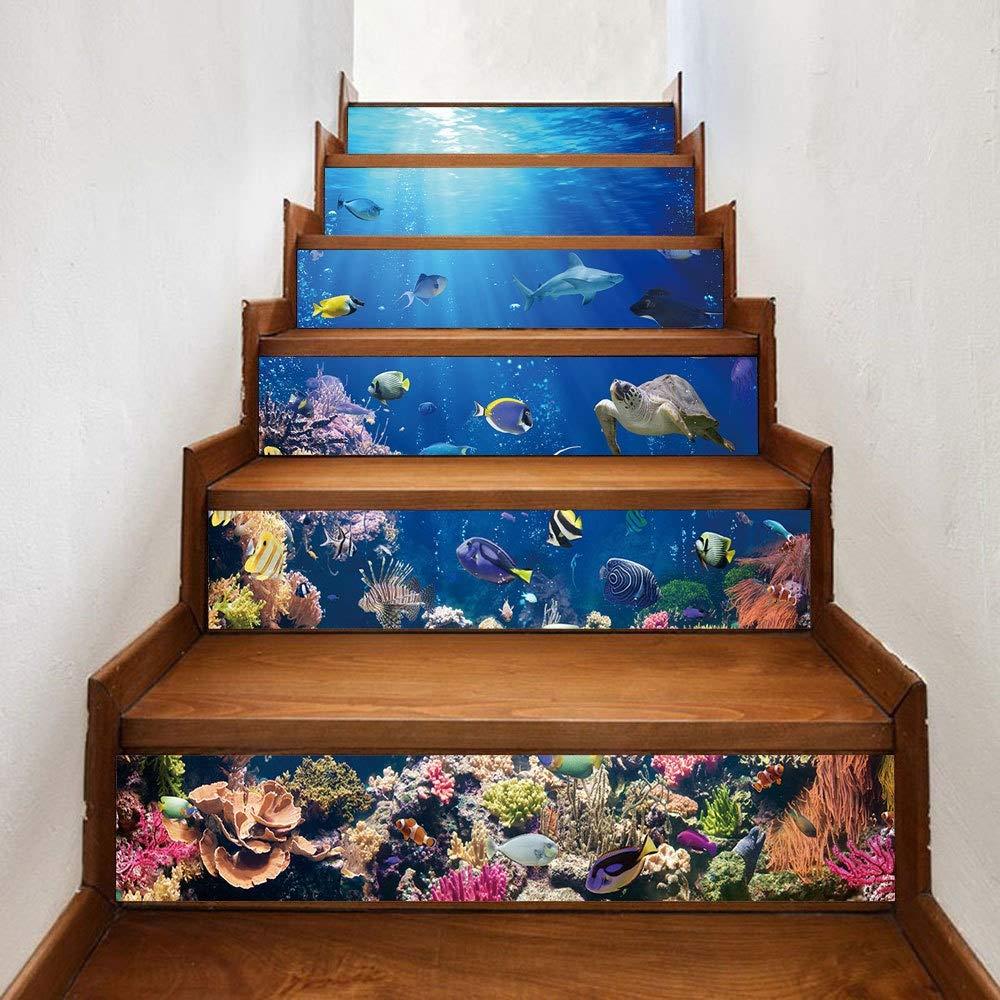 Adhesivos de escalera Bricolaje Pasos bajo el agua WorldSticker Tatuajes de pared Papel pintado mural desmontable Adhesivos 3D de escalera Sticker Decoración de escaleras Risers Calcomanías Inicio Esc: Amazon.es: Hogar