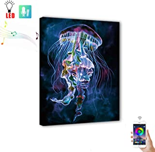 Wall Painting Art with Mobile Phone Remote Control, Powered by USB,Led Painting Marine Jellyfish Picture Canvas Wall Art for Living Room,Change colors with the rhythm of music(15.75