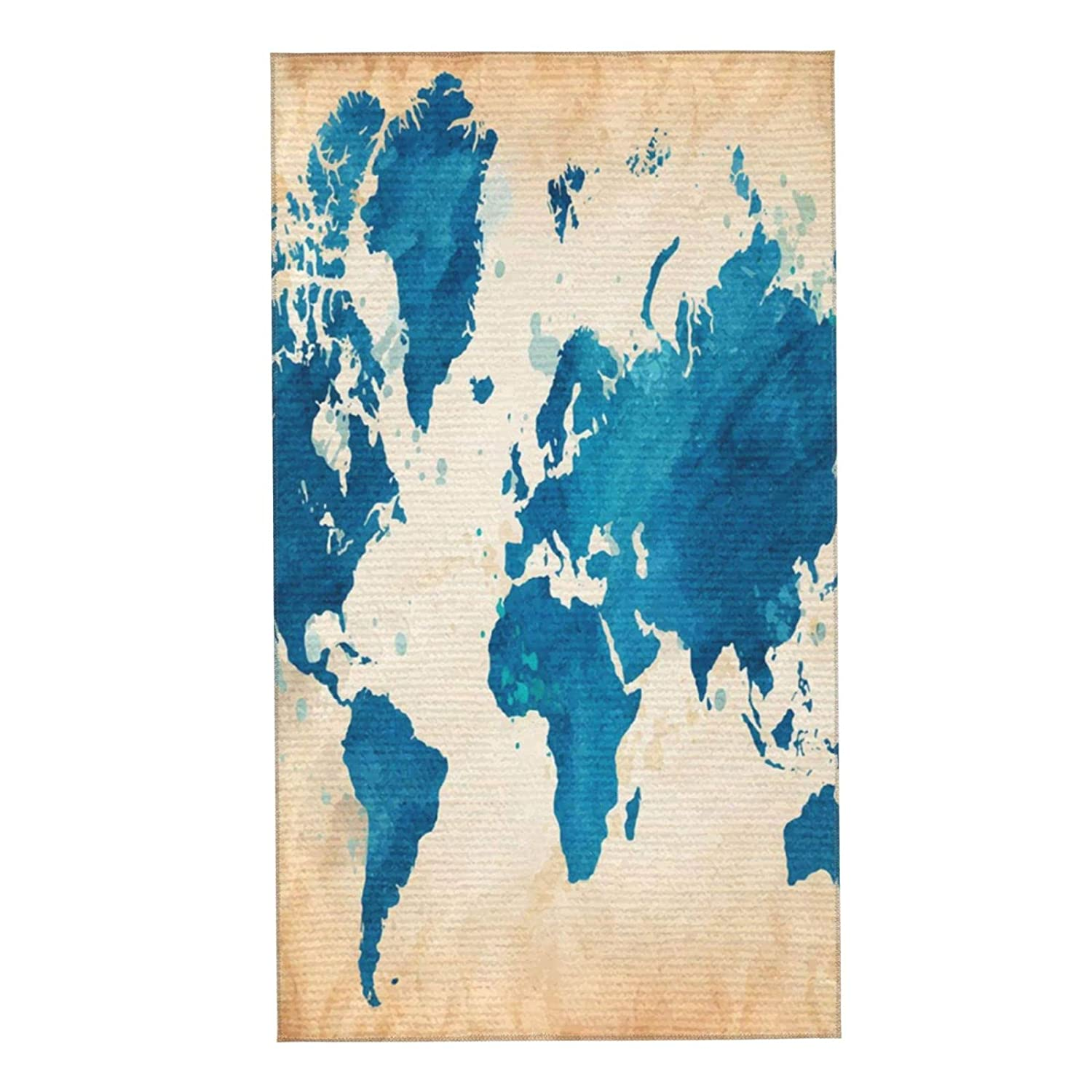 Vintage Clearance SALE! Limited time! World Map Watercolor Old Cloth Towels Complete Free Shipping Soft Microfib Face