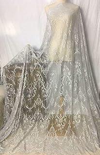 Ivory Lace Fabric Eyelash Chantilly Floral Bridal/Wedding Dress Flower African Lace Table Cloth DIY Crafts Scallop Trim Applique Ribbon Curtains 300cmx150cm ALE02 (Silver)