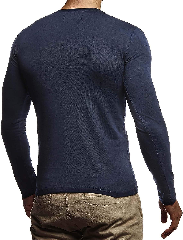 Leif Nelson LN8372 T-shirt basique /à manches longues et col en V pour homme