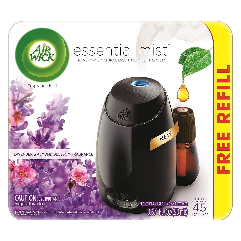 み実験室ヒントAir Wick Fresh Lavender & Almond Blossom Fragrance Essential エアーウィックフレッシュフレグランスエッセンシャルミスト本体+ ラベンダー&アーモンドブロッサム 芳香剤 20ml 、1パック [並行輸入品]