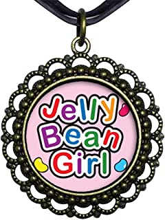 GiftJewelryShop Bronze Retro Style Cartoon Theme Flower Pendant Necklaces #21, Jelly Bean Girl Easter
