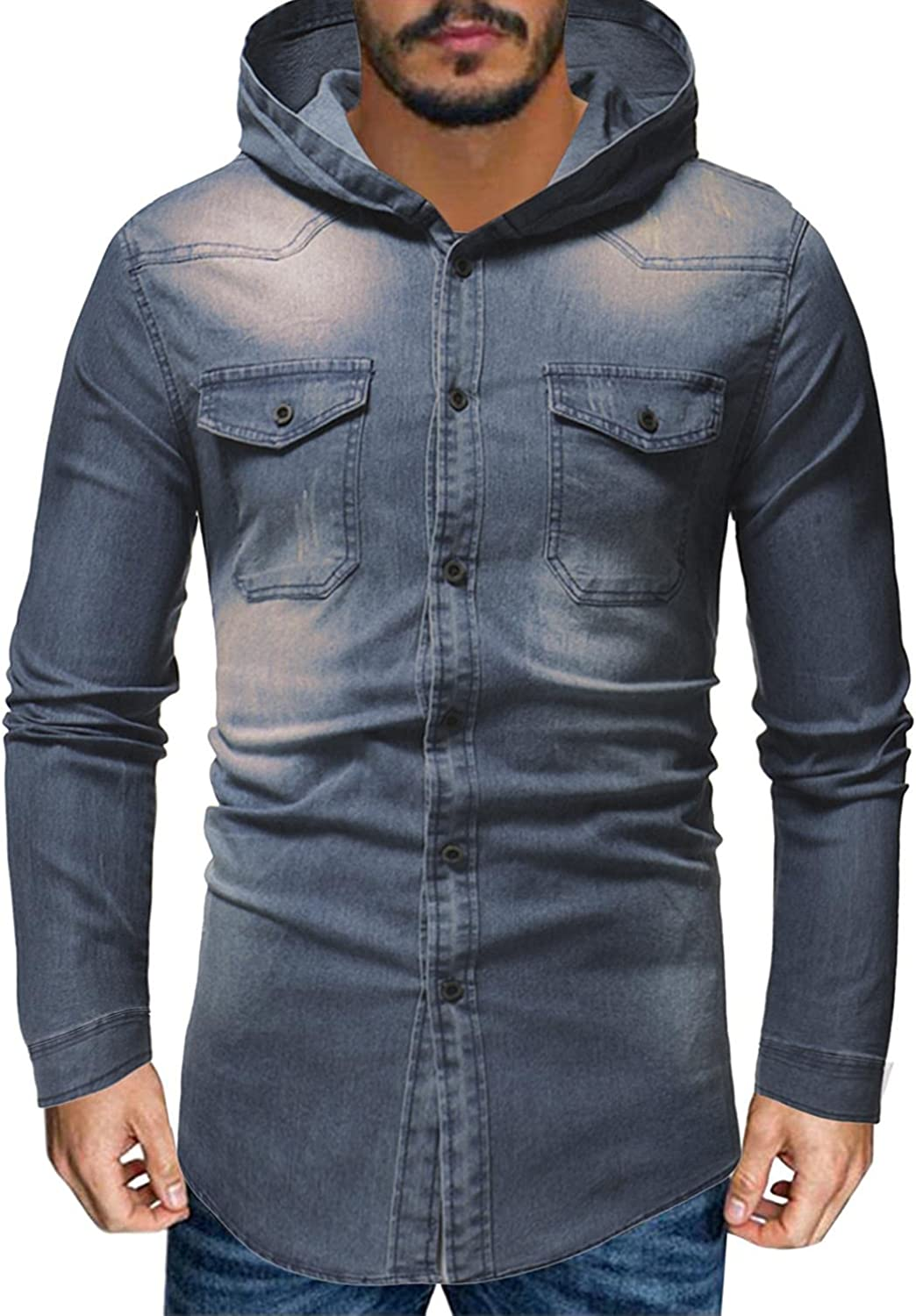 FUNEY Jean Jacket for favorite Mens Fashion New mail order Sleeve Long Hoodies Slim-Fit