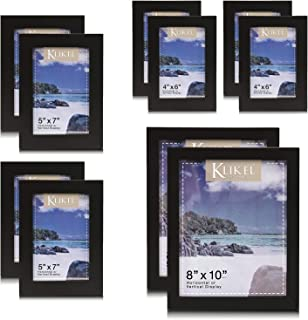 Klikel 10 Piece Wood Photo Frame Sets for Collage – Black Gallery Wall Frame Set Includes 4 of 4x6, 4 of 5x7 and 2 of 8x10 Picture Frames