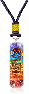 Orgone Chakra Healing Pendant with Adjustable Cord – 7 Chakra Stones Necklace for E-Energy Protection and Spiritual Healing