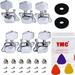 YMC Chrome-Tuning-Peg-Round220-3L3R 6 Pieces 3L3R Semiclosed Guitar Tuning Pegs Tuners Machine Heads