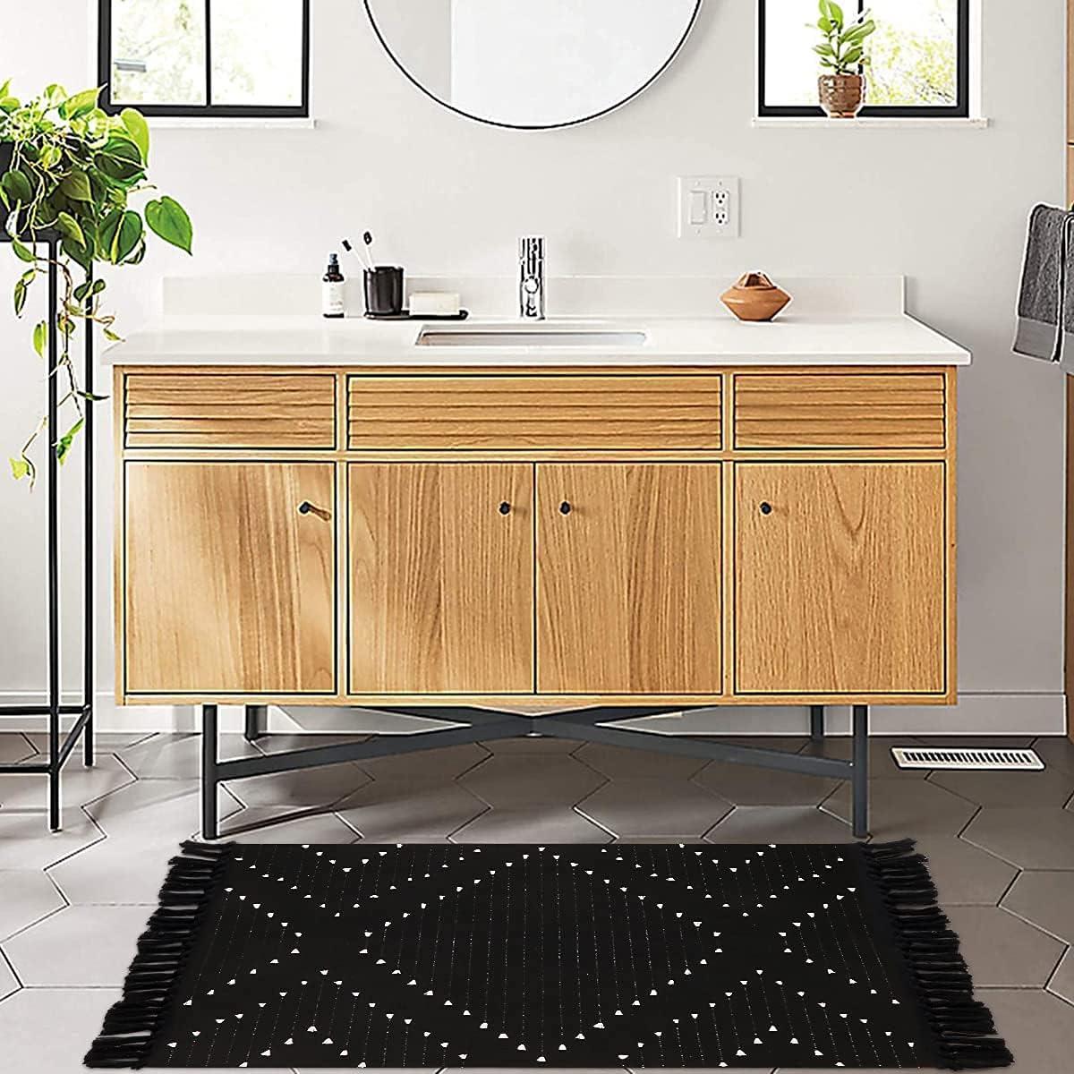 Buy LIVEBOX Boho Bathroom Rug 20' x 20' Washable Small Black Area ...