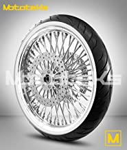 21X3.5 52 Fat Spoke Tubeless Wheel for Harley Touring Bagger fits 2008-2017 (W/ABS) w/White Wall Tire & Rotors (w/bolts)
