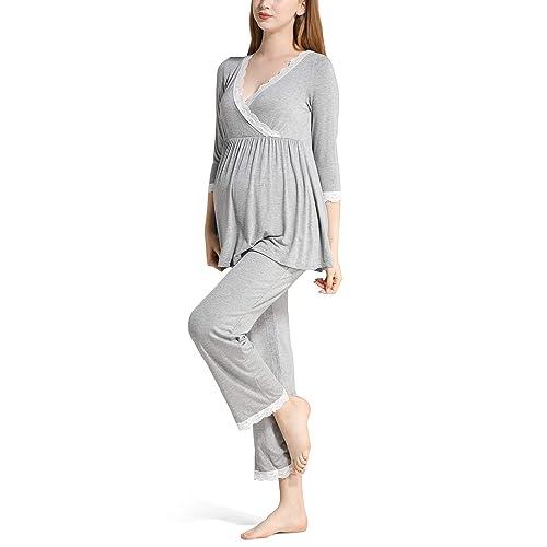 32fdab3814ba Molliya Women s Cotton Maternity Nursing Pajama Set Lace 3 4 Sleeve Tops  and Long Pants