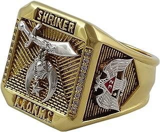UNIQABLE Masonic Shriner Scottish Rite 32 Degree Ring 18K Gold PLD Yellow Version 35 Grams Handmade Templar BR-28