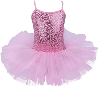 TiaoBug Girls Spaghetti Sequined Ballet Dance Dress Leotard Tutu Skirt Pink Turquoise White