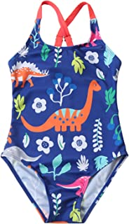 Little Girls One Piece Swimsuit Hawaiian Ruffle Lovely Cartoon Beach Swimwear Swimpool Bathing Suit Swim Rash Guard