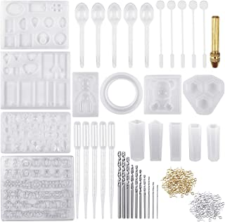 NATUCE 229 Pcs Molde Silicona Resina para Hacer Joyerias, Moldes de Resina para Collar Pendiente Fabricación de Colgante Bolas Cubos Pulsera Creativo Bricolaje