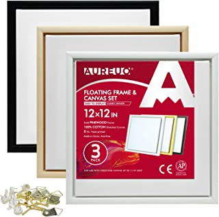 AUREUO Pinewood Floating Frame and Canvas Set - 12x12 Inch Floater Frames with Stretched Canvases for Painting - 3 Pack, 3...
