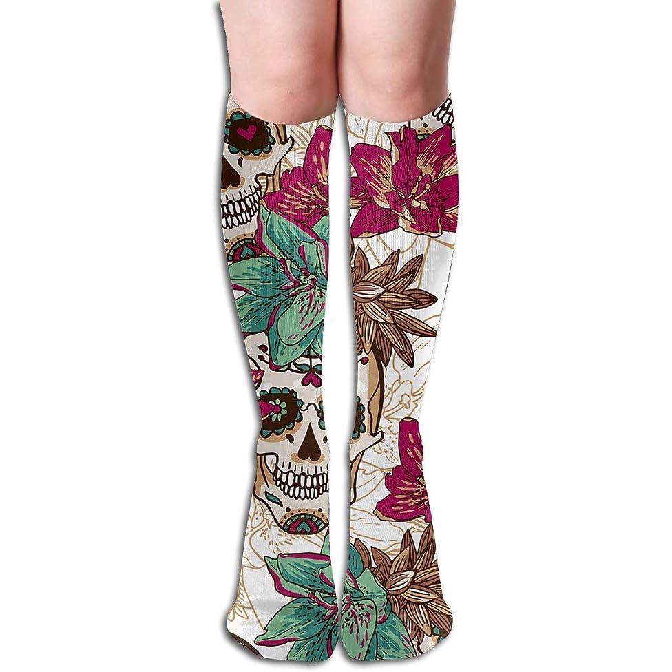 受粉するちなみに田舎スカルスカルハートと花チューブストッキングレディース冬暖かい膝高靴下ブーツ靴下