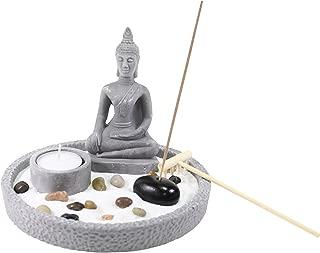 Tabletop Buddha Statue Zen Garden with Sand Rock Rake Candle Holder Incense Burner Home Decor