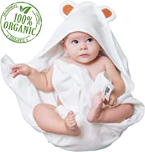 Organic Baby Hooded Towel for Bath   Ultra Soft, Quick Dry, Plush Feel - Premium Baby Shower Gift for Boy or Girl - Infant Towel & Toddlers and Newborn   All Natural Bamboo, White with Cute Bear Ears