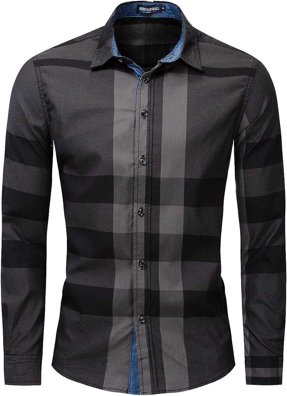 MakingDa Camisa casual de cuadros para hombre, manga larga, con botones, ajuste delgado, ligera, a cuadros