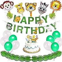 40pcs Jungle Safari Birthday Party Supplies, Animals Birthday Decorations, Happy Birthday Banner, Animal Balloons, Animal Cake Decors and Palm Leaves for Jungle Themed Birthday Party Decorations