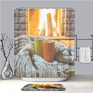 BEICICI Shower Curtain and Bath mat Rug Mugs for Tea or Coffee Wool Things Near Cozy Fireplace Custom Stylish,Waterproof,Mildew Proof Bathroom Set