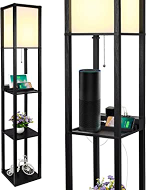 3-in-1 Shelf Floor Lamp with 2 Fast Charging USB Ports and 1 Power Outlet, 3-Tiered LED Shelf Floor Lamp, Shelf & Storage