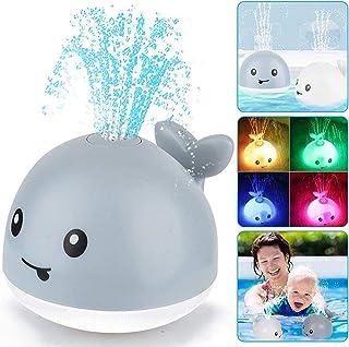 Juguetes de baño de bebé Curva de aprendizaje, juguetes de baño de ballena con luz LED Spray de agua Juguetes para niños pequeños niños niñas niñas riego de inducción bañera juguetes ducha piscina baño juguete gris
