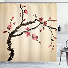 Ambesonne Japanese Decor Collection, Traditional Chinese Paint Style of Figural Tree with Highly Detail Brushstroke Effects, Polyester Fabric Bathroom Shower Curtain, 75 Inches Long, Pink Brown